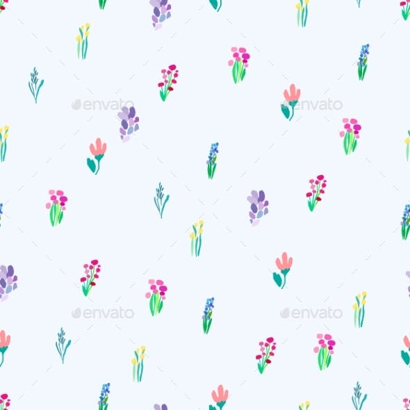 Seamless Pattern with Flowers Plant Vector