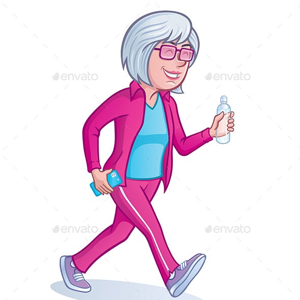 Mature Woman Walking For Exercise