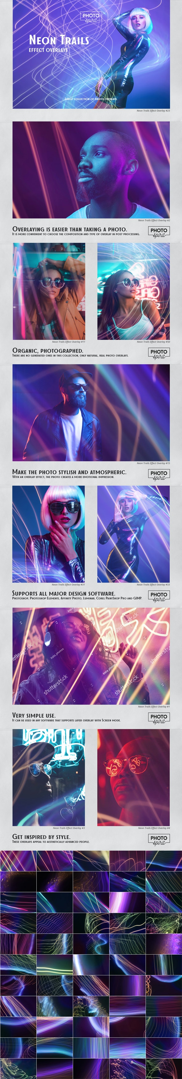Neon Trails Overlays Effect - Photoshop Add-ons