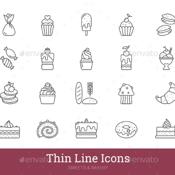 Bakery Sweets Pastry Shop Thin Line Icons Set