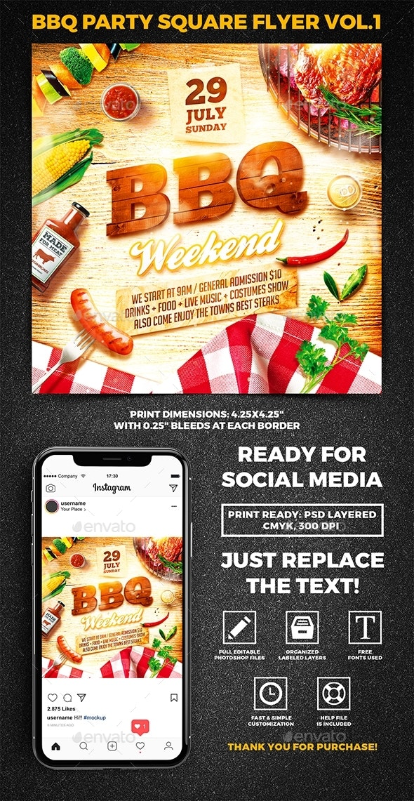 BBQ party Square Flyer vol.1 - Miscellaneous Events