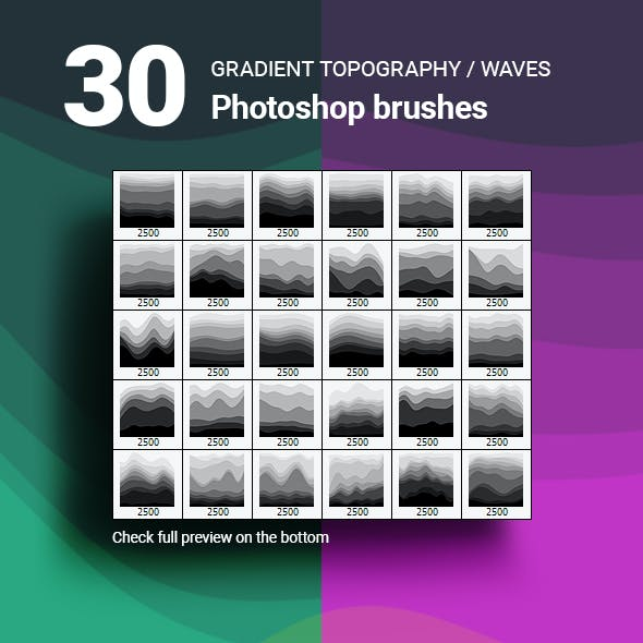 30 Topography Map Gradient Layered Waves Photoshop Brushes