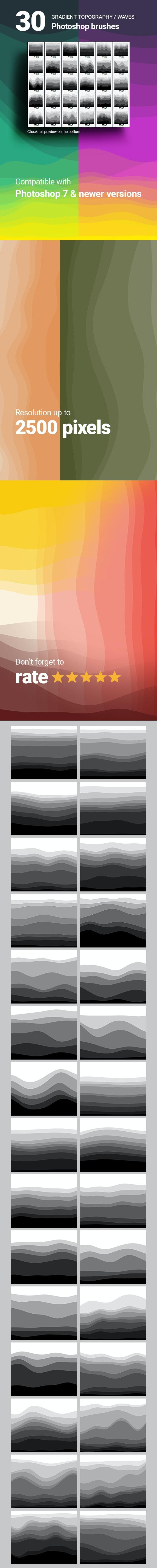 30 Topography Map Gradient Layered Waves Photoshop Brushes - Brushes Photoshop