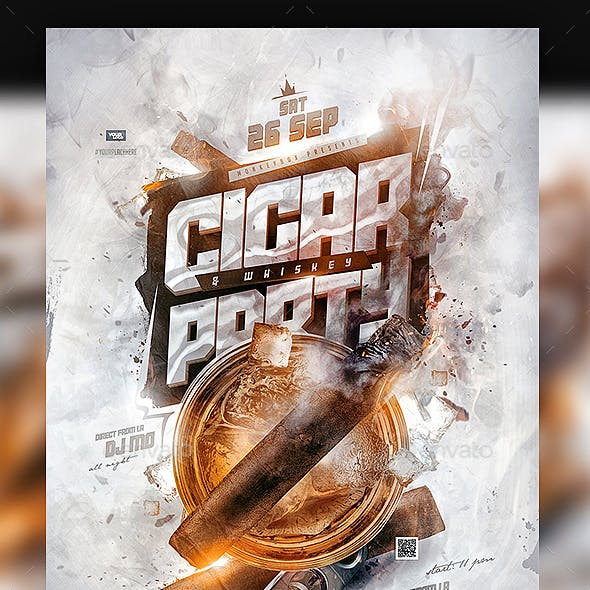 Cigar Party Flyer Template