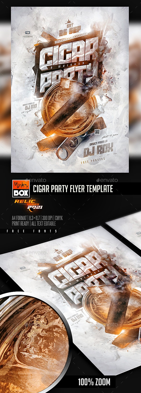 Cigar Party Flyer Template - Events Flyers