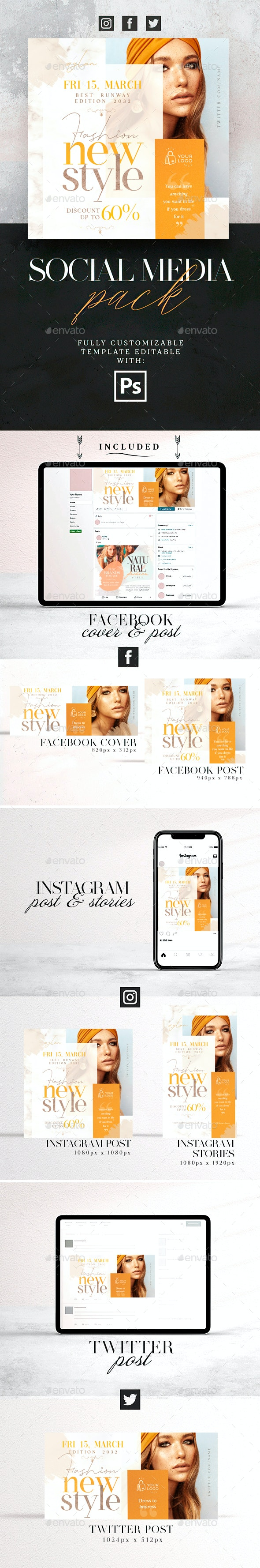 New Style Social Media Pack - Social Media Web Elements