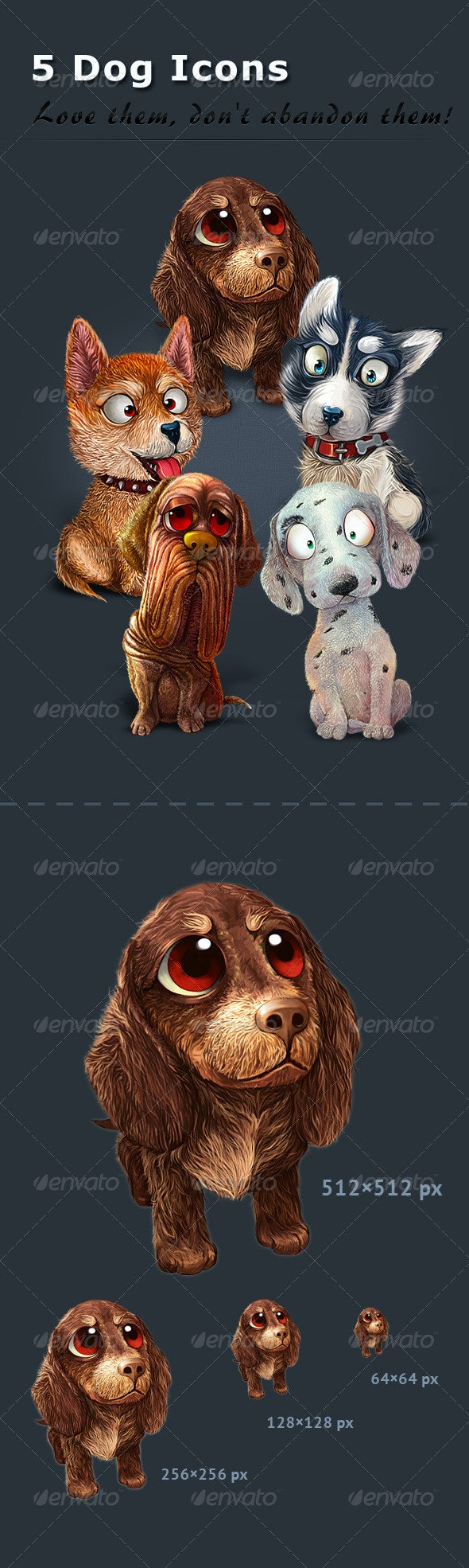 5 Dog Icons - Animals Characters