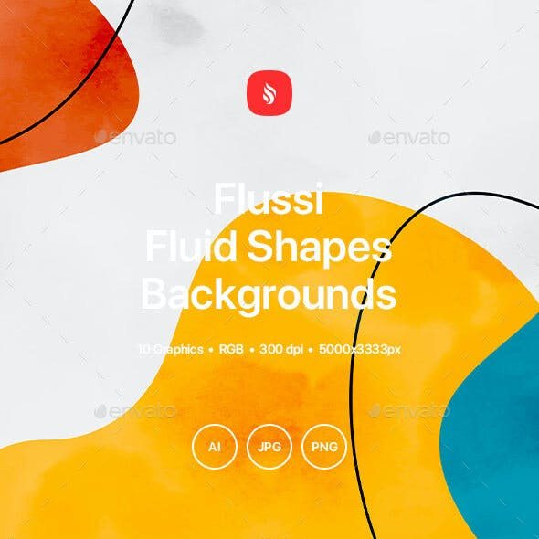 Flussi - Hand-drawn Dynamic Watercolor Fluid Shapes Backgrounds