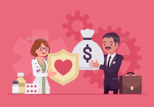Hospital Trustee Giving Money to Administrator  - Health/Medicine Conceptual