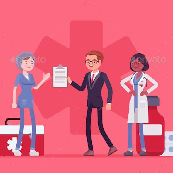 Healthcare Male Administrator Managing Doctors