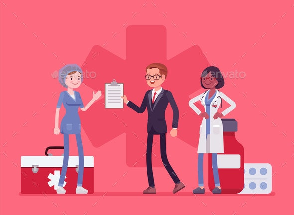 Healthcare Male Administrator Managing Doctors - Health/Medicine Conceptual