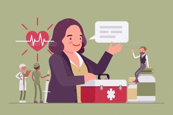 Female Hospital Trustee Giving Money to Help  - Health/Medicine Conceptual