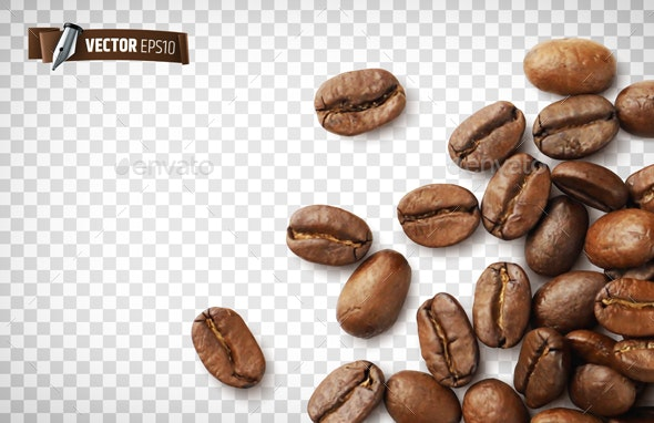 Vector Realistic Coffee Beans - Food Objects