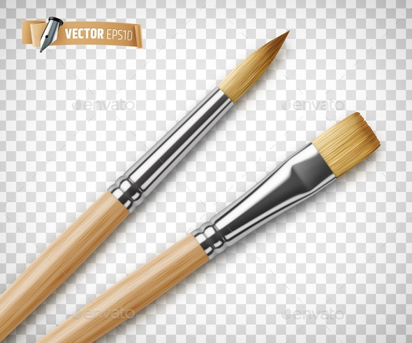 Vector Realistic Paintbrushes - Objects Vectors