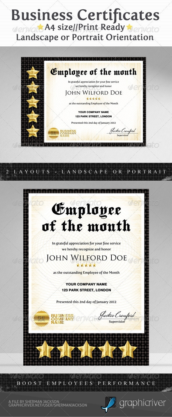 Business & Company Certificates - Certificates Stationery