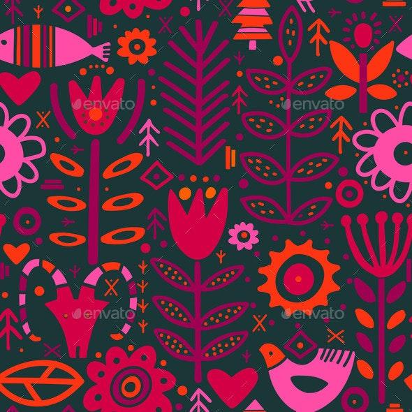 Folk Plants Fox Deer Flowers Seamless Pattern - Flowers & Plants Nature