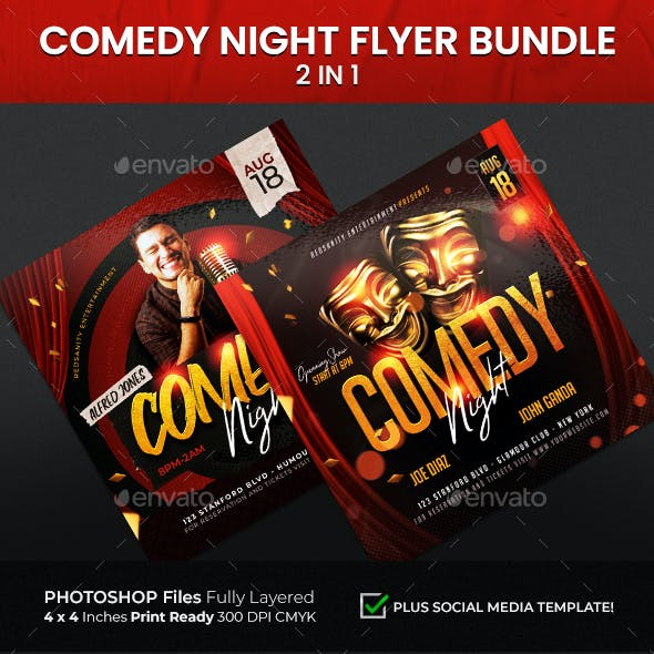 Comedy Night Flyer Bundle 2 in 1