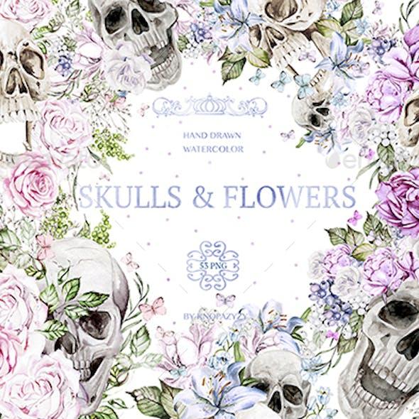 Watercolor Skulls & Flowers