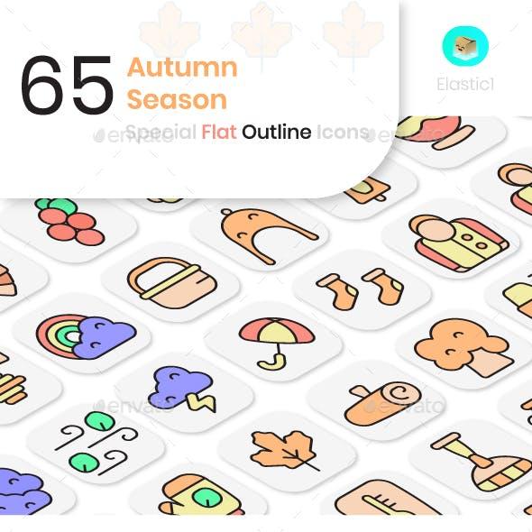 Autumn Season Flat Outline Icons