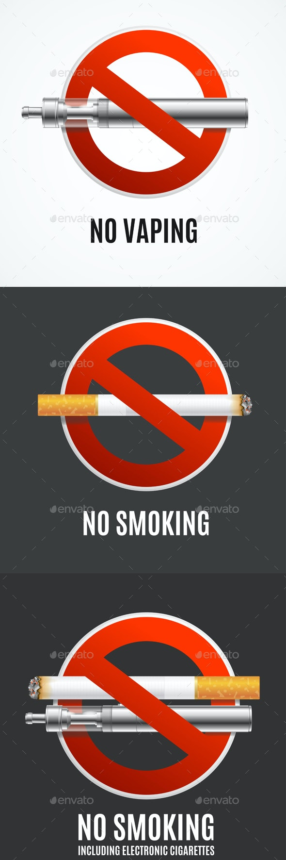 Realistic Detailed 3d No Smoking Concept. Vector - Signage Print