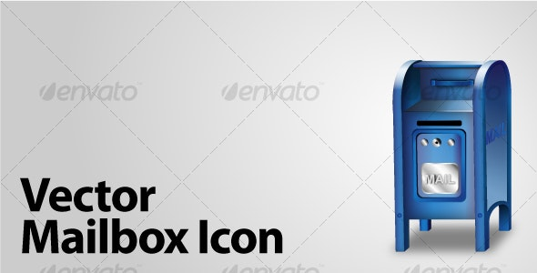Vector Blue Mailbox Icon - Man-made Objects Objects