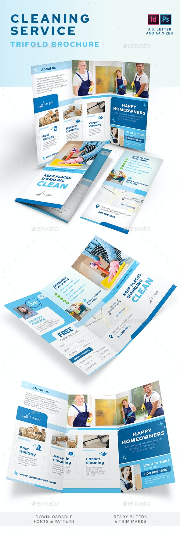 Cleaning Service Company Trifold Brochure - Informational Brochures
