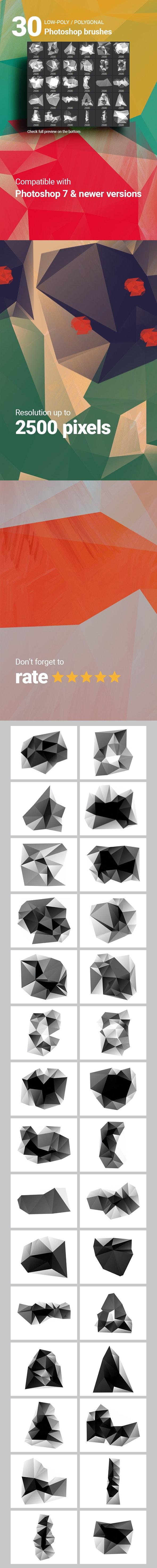 30 Low-Poly / Polygonal / Geometrical Photoshop Brushes #6 - Brushes Photoshop