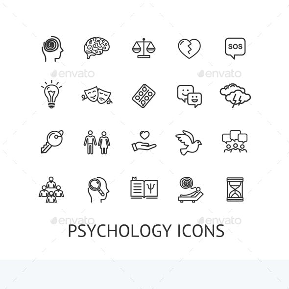 Psychology Sign Color Thin Line Icon Set. Vector