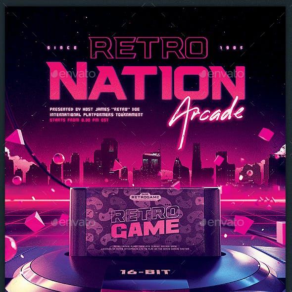 Retro Gaming Flyer 80s Neon Game Night