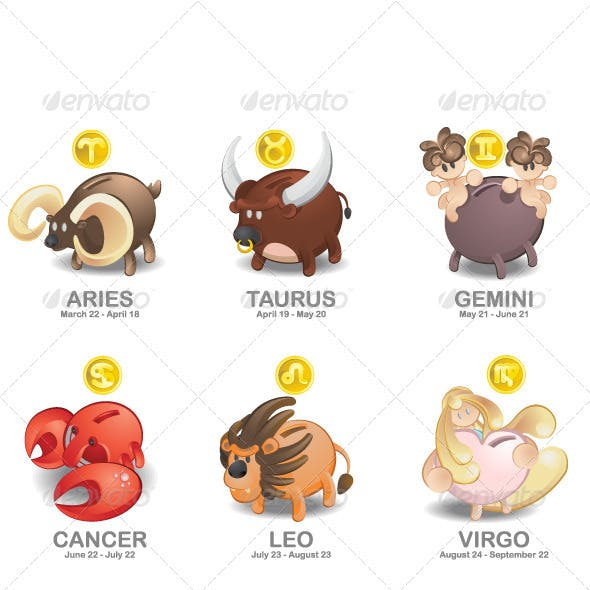 Piggy Bank of Zodiac icon set: Aries, Taurus, Gemi