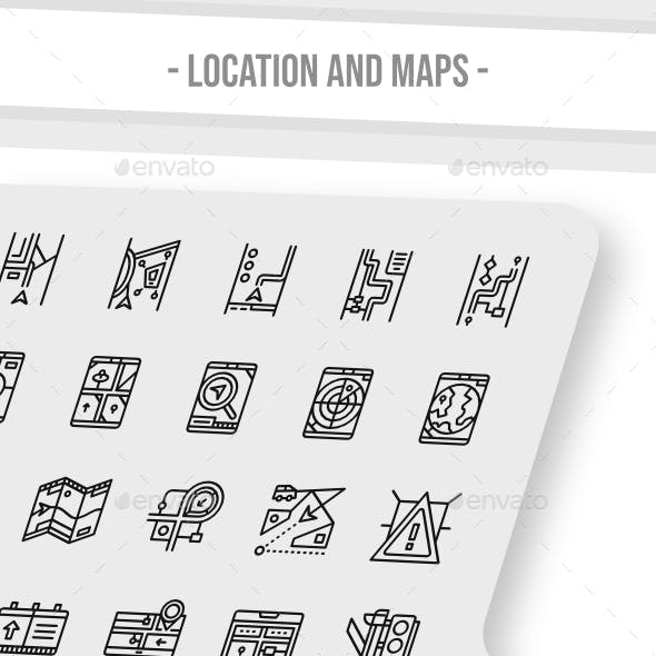 Location And Maps Icon Outline Style