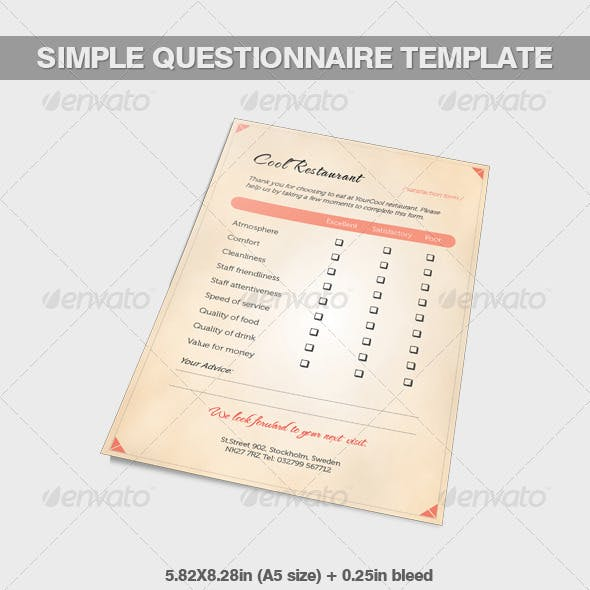 A5 Simple Questionnaire Template