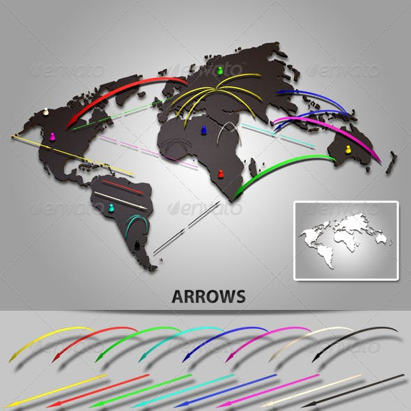3D World Map with Arrows