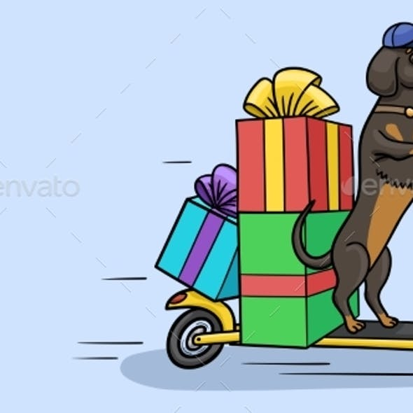The Dog Rides on a Twowheeled Scooter with Boxes