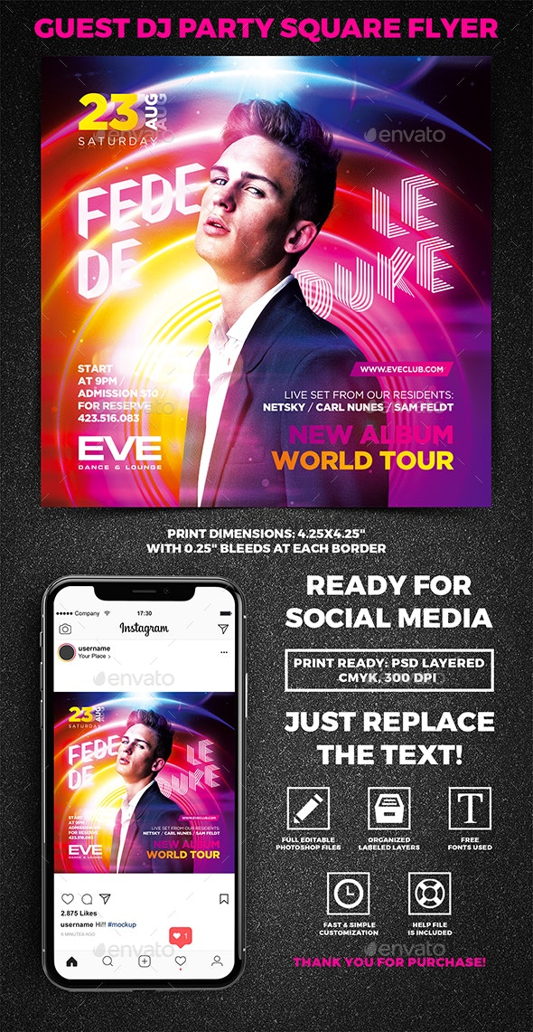 Guest DJ Party Square Flyer vol.11 - Concerts Events