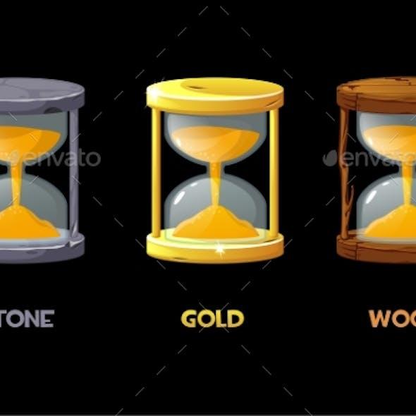Golden Stone Wooden Hourglass