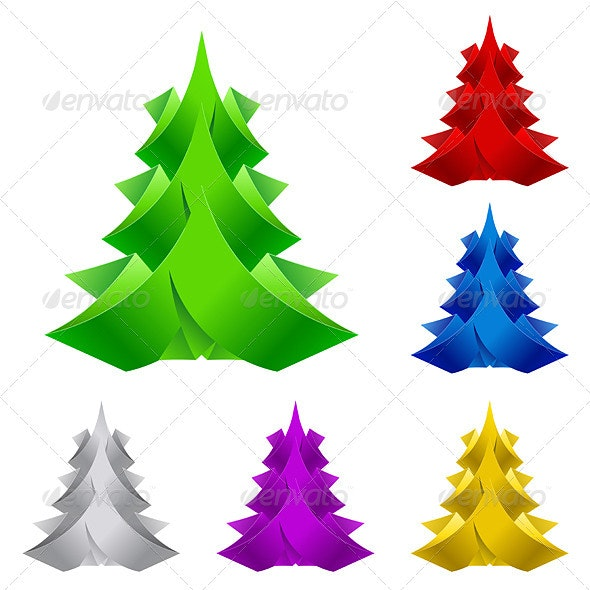 Abstract Paper Christmas Tree. - Miscellaneous Vectors