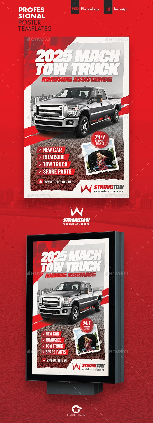 Tow Truck Poster Templates - Signage Print Templates