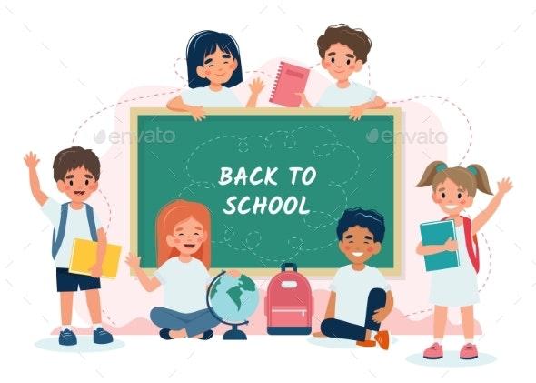 School Children in Class with a Blackboard Back - Miscellaneous Vectors