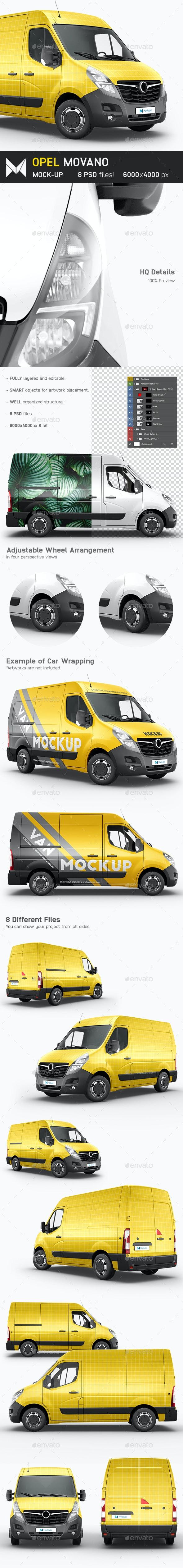 Opel Movano Van Mockup - Vehicle Wraps Print