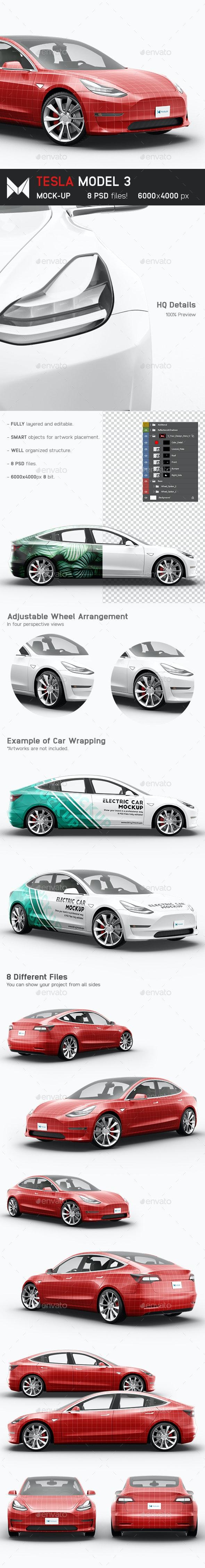 Tesla Model 3 Electric Car Mockup - Vehicle Wraps Print