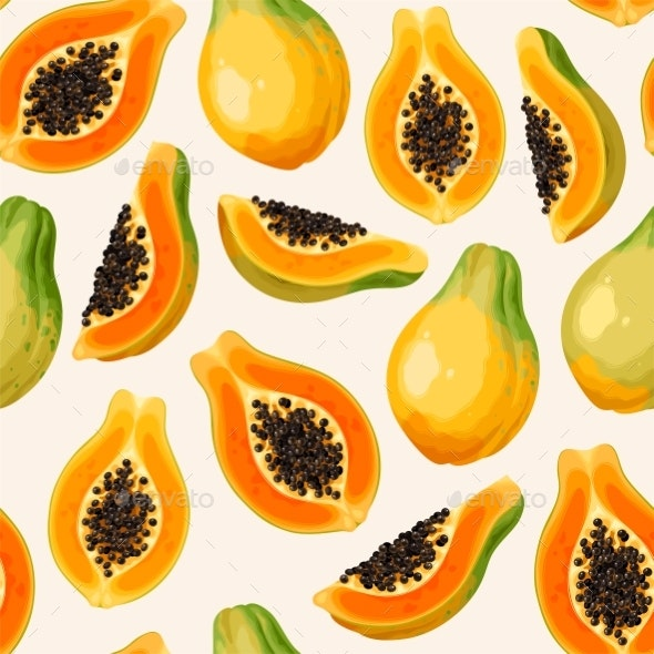 Seamless Pattern with Papaya Whole and Slice - Food Objects