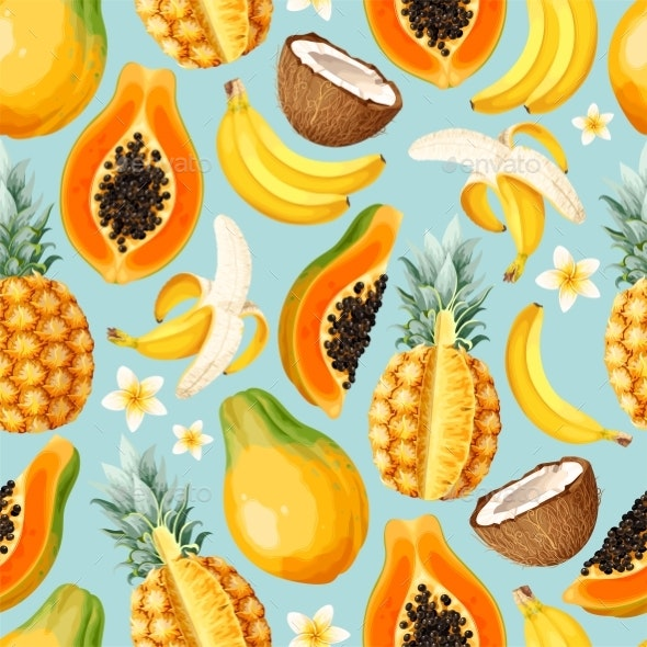 Seamless Vector Pattern with Sliced Exotic Fruits - Food Objects
