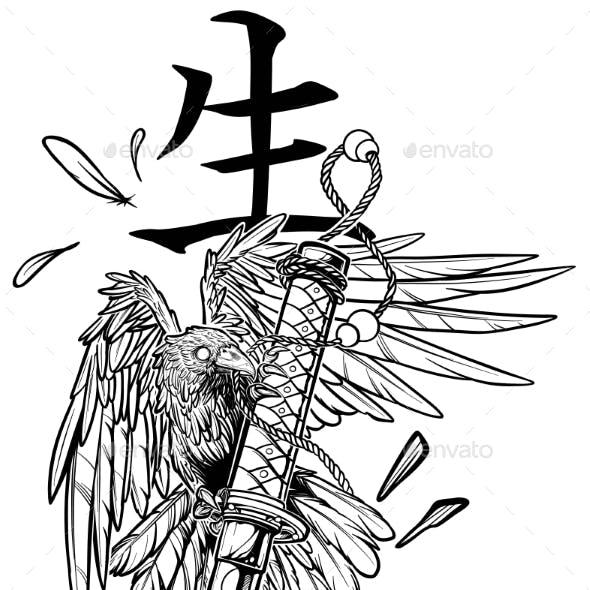 Cartoon Graphic Raven Holding Broken Katana Sword