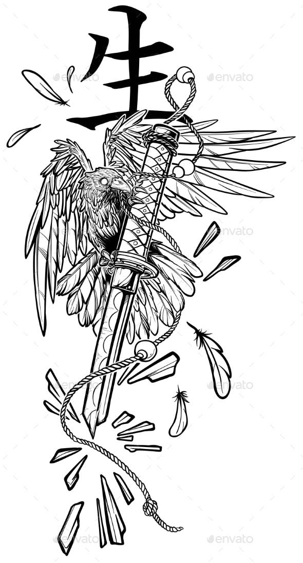 Cartoon Graphic Raven Holding Broken Katana Sword - Tattoos Vectors