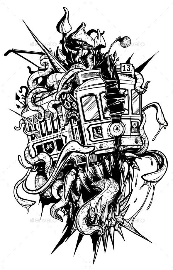 Cartoon Psychedelic Retro Monster Red Tramway - Tattoos Vectors