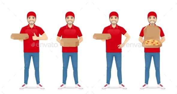 Delivery Pizza Man - People Characters