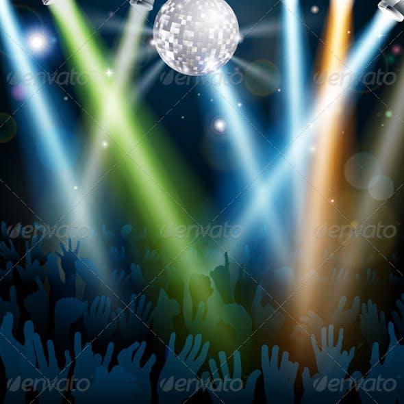 Mirror ball dance floor crowd