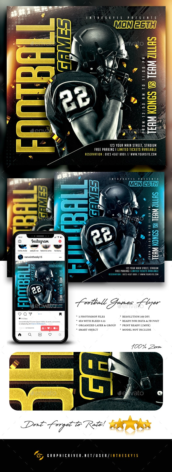 Football Games Flyer - Sports Events