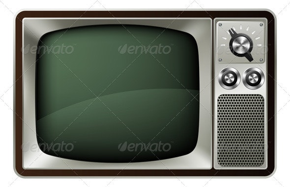 Retro TV Illustration - Man-made Objects Objects